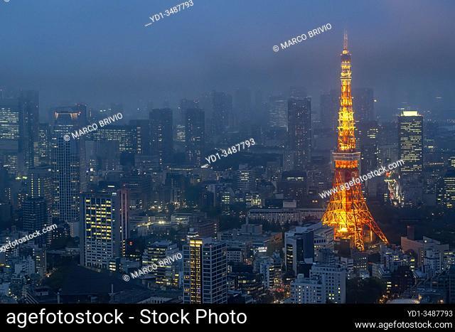 Tokyo Japan. Aerial view of Tokyo Tower