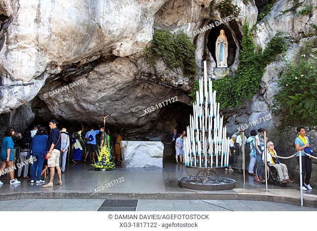 Sanctuary of Lourdes with pilgrims, Hautes Pyrenees, France