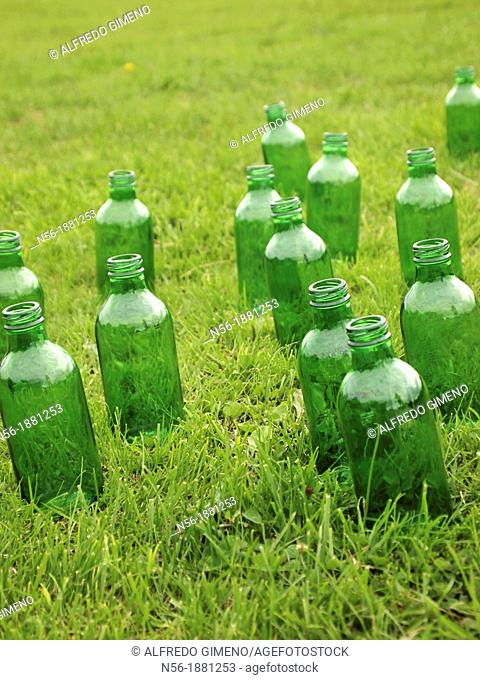 Green bottles over the grass