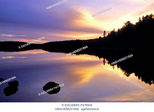 Canada, Quebec Province, Mauricie Region, Parc National de la Mauricie, sunset on a lake