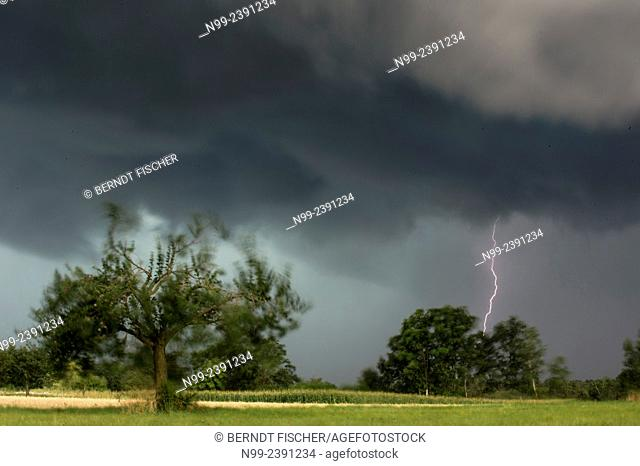 Thunderstorm, agricultural country, Franconia, Bavaria, Germany