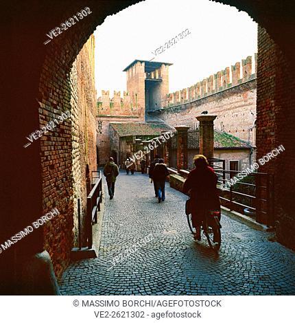 Italy, Veneto, Verona. Castelvecchio (castle), the courtyard of the keep