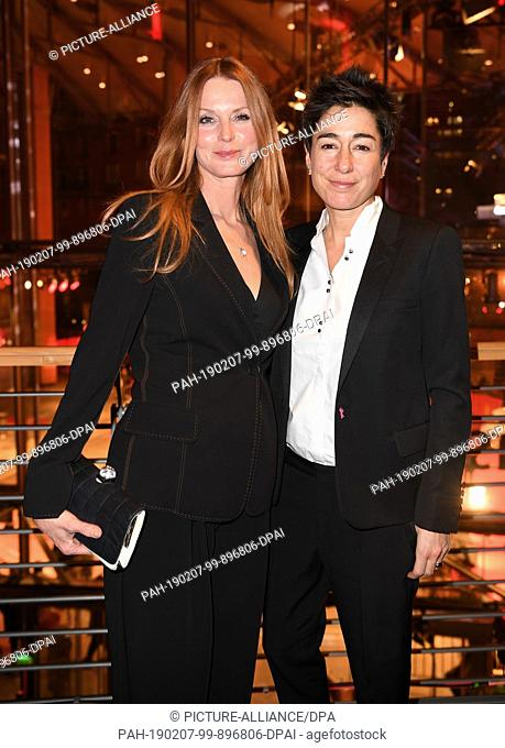 07 February 2019, Berlin: 69th Berlinale, opening gala: Esther Schweins (l) and Dunja Hayali are at the opening party of the Berlinale