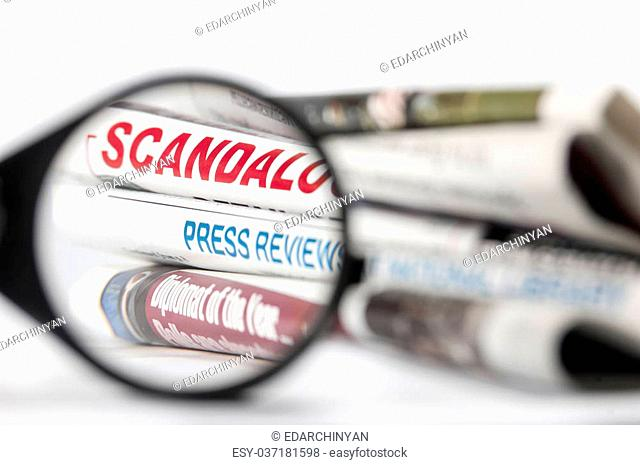 Newspapers' headlines through magnifying glass