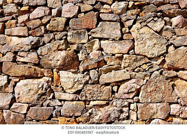 Masonry stone wall texture, old Spain ancient architecture detail