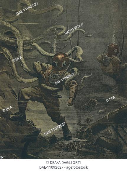 A diver being attacked by a giant octopus during a dive. Illustrator Achille Beltrame (1871-1945), from La Domenica del Corriere, 25th October 1908