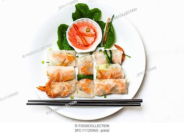 Spring rolls with prawns