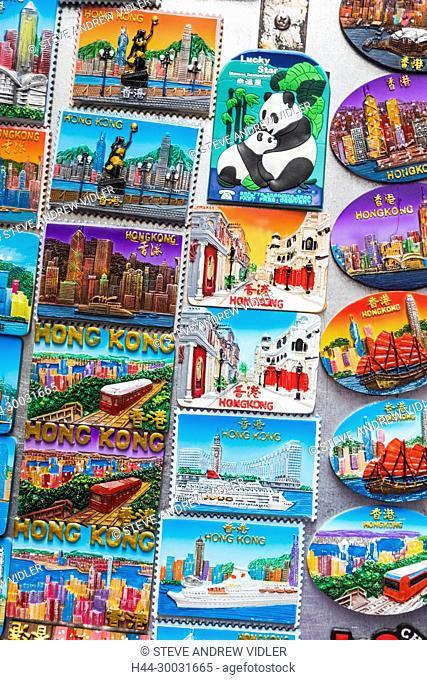 China, Hong Kong, Mong Kok, Ladies Market, Display of Souvenir Fridge Magnets