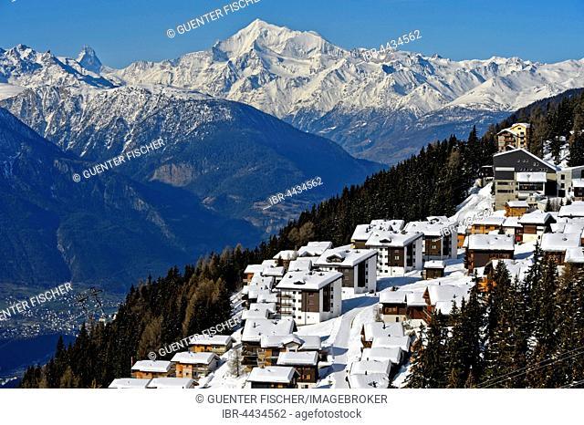 Bettmeralp under a thick blanket of snow, behind Weisshorn, winter, Valais Alps, Valais, Switzerland