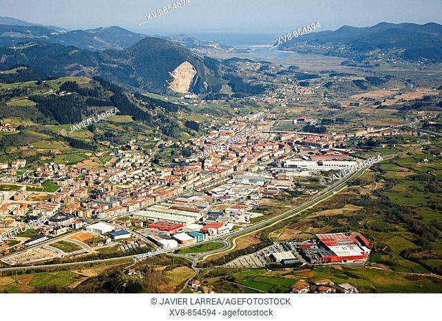 Gernika, Urdaibai biosphere reserve in background, Biscay, Basque country, Spain
