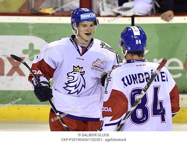 L-R Dominik Kubalik and Tomas Kundratek (both CZE) celebrate a goal during the Euro Hockey Challenge match Slovakia vs Czech Republic in Trencin, Slovakia