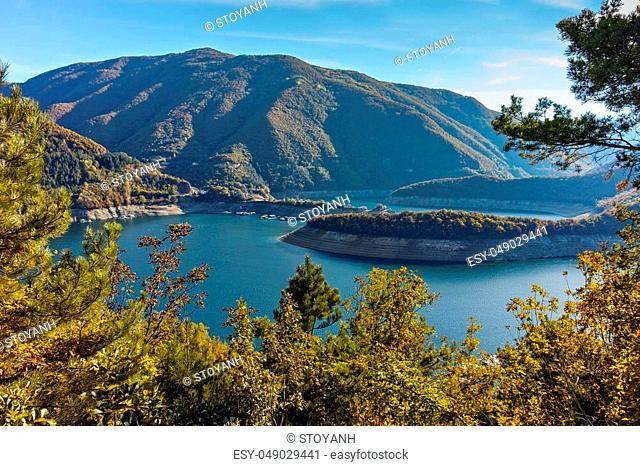 Autumn view of Meander of Vacha (Antonivanovtsy) Reservoir, Rhodopes Mountain, Bulgaria