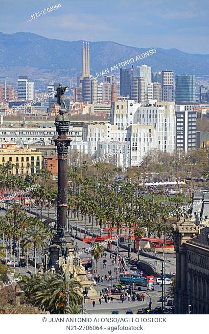 Christopher Columbus monument. Barcelona, Catalonia, Spain, Europe