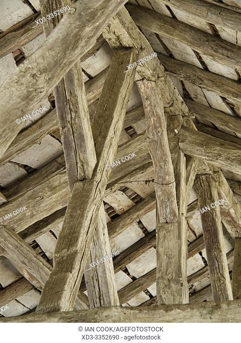 roof structure of market halle, Monpazier, Dordogne Department, Nouvelle Aquitaine, France
