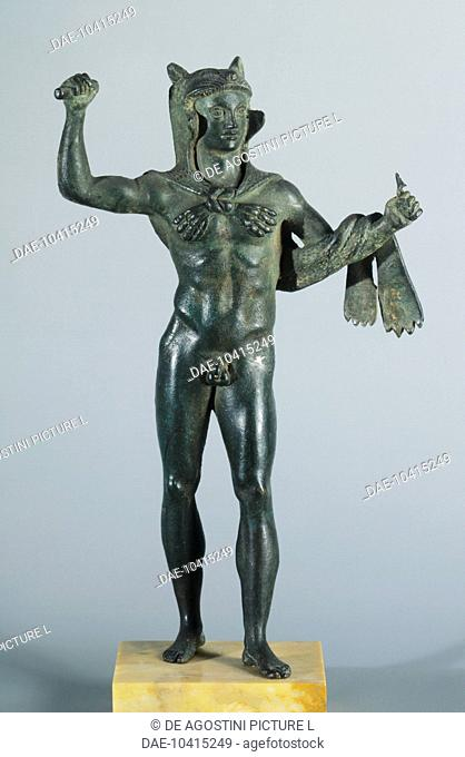 Bronze statuette depicting Hercules in battle, front view. Etruscan Civilization, 400-350 BC.  Paris, Musée Du Cabinet Des Medailles De La Bibliothèque National...