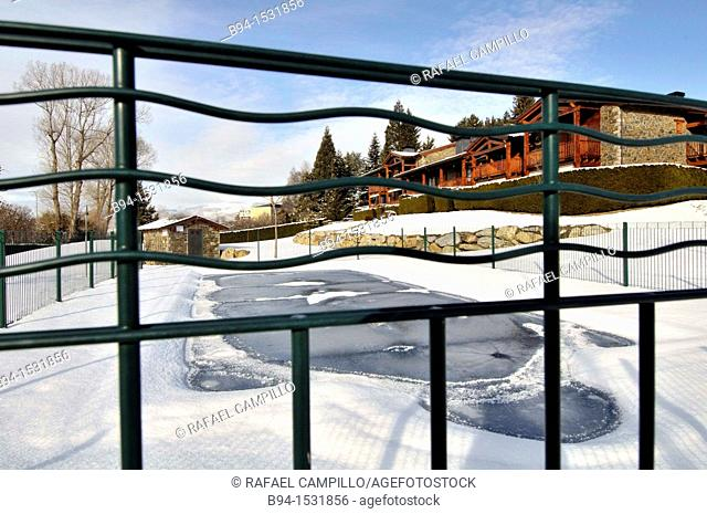 Swimming pool protection in winter. Osseja, Languedoc-Roussillon, Pyrenees Orientales, France