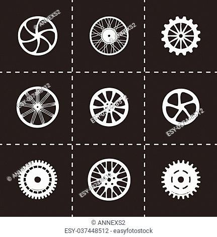 Vector wheel icon set on black background
