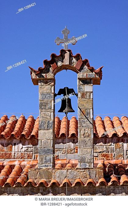 Bell tower, church, mountain village of Axos, Crete, Greece, Europe