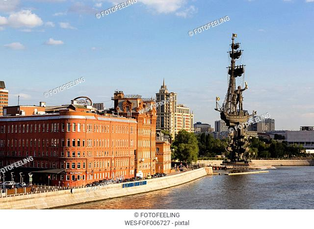 Russia, Moscow, Digital October building, Peter the Great memorial and Moskva River