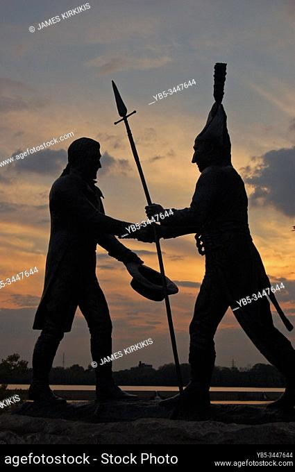 A statue commemorates the first meeting of famed explorers Lewis and Clark near Louisville, KY
