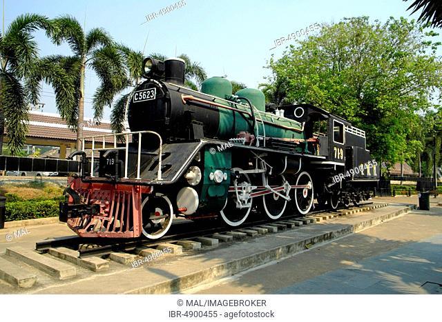 Historic steam locomotive C 5623 of the Death Railway Death Railway, Kanchanaburi, Thailand