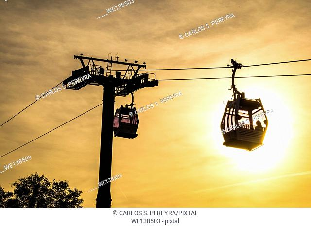 Cable-car of Montjuic and Sagrada Familia, Barcelona, Catalonia, Spain