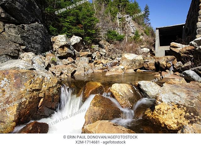 Crawford Notch State Park - Saco River in the White Mountains, New Hampshire USA during the spring months  The Saco River travels under Route 302 in a tunnel...
