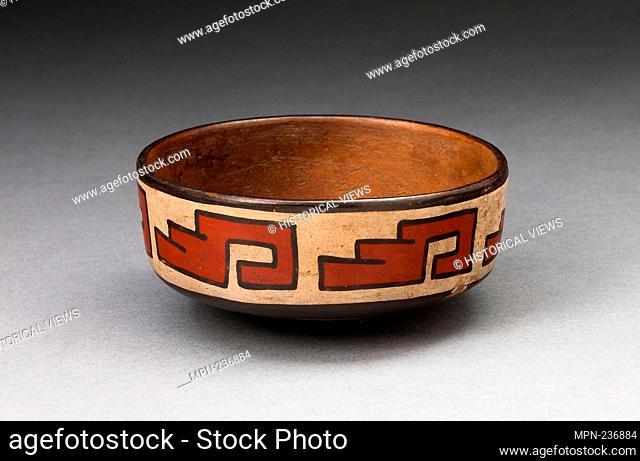 Bowl with Stepped Fret Motif - 180 B.C./A.D. 500 - Nazca South coast, Peru - Artist: Nazca, Origin: Nazca Valley, Date: 180 BC-500 AD