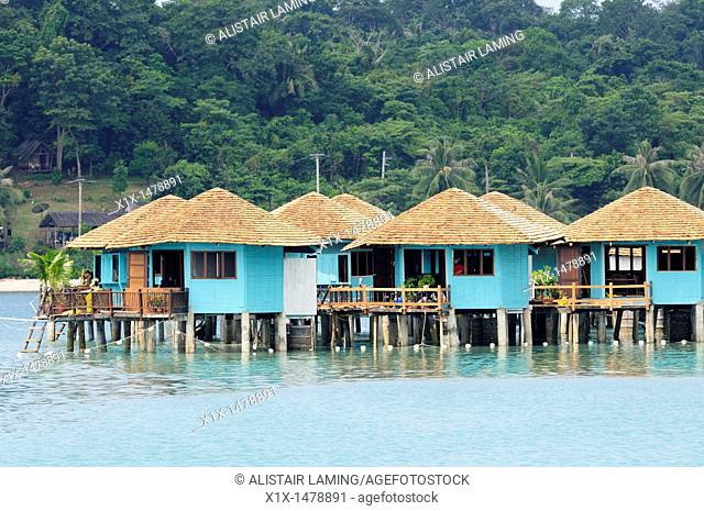 Thailand, Trat Province, Island of Koh Chang, Village of Bangbao, Houses built on stilts in the sea