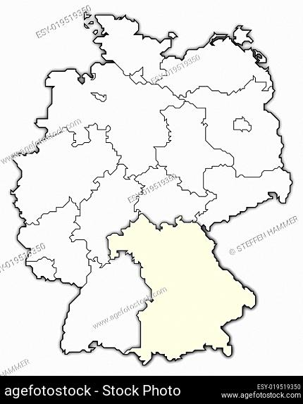 Map of Germany, Bavaria highlighted