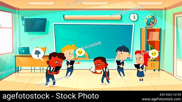 Cyber bullying in school, conflict and violence situation with sad black boy in classroom among laughing teenagers messaging in smartphone