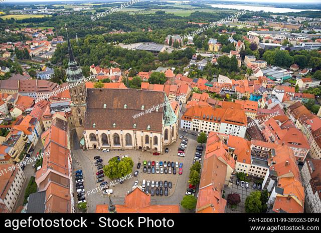 07 June 2020, Saxony, Bautzen: Aerial view of the Saxon city of Bautzen with St. Peter's Cathedral. After the Reformation
