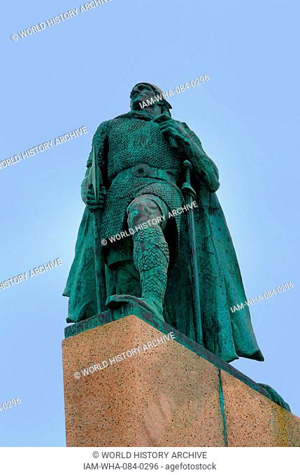 Statue of Leif Erikson (970-1020) an Icelandic explorer who is considered to be the first European to land in North America. Dated 21st Century