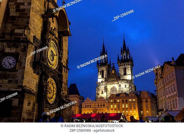 Astronomical Clock, Old Town Square, Tyn Church, Christmas market, Prague, Czech Republic