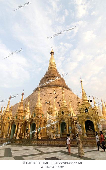 Central Stupa surrounded by smaller shrines at the Shwedagon Pagoda. Yangon,Myanmar