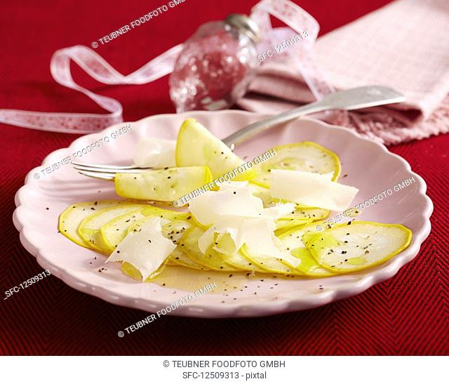 Courgette carpaccio with Parmesan lemon juice and olive oil