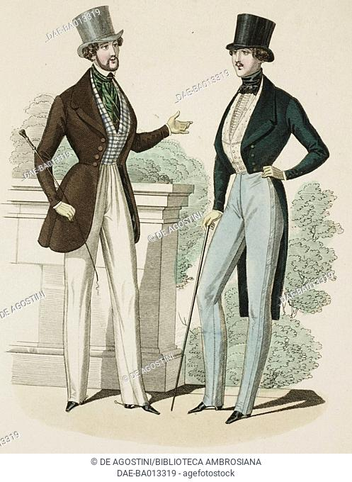 Male sketches in morning suit, with top hat and walking stick, plate 42 taken from Parisian Fashion, Il Corriere delle Dame (Ladies' Courier), 20th July 1837