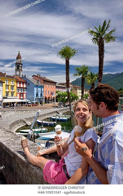 Switzerland, Europe, river, flow, brook, body of water, waters, water, lake, summer, canton, TI, Ticino, Southern Switzerland, Lago Maggiore, Ascona, village