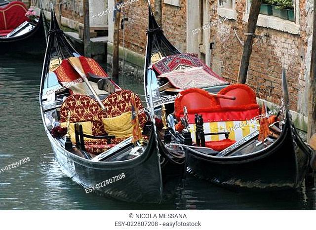 Gondolas in the canals of Venice