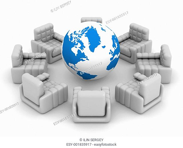Eight armchairs standing around globe. 3D image