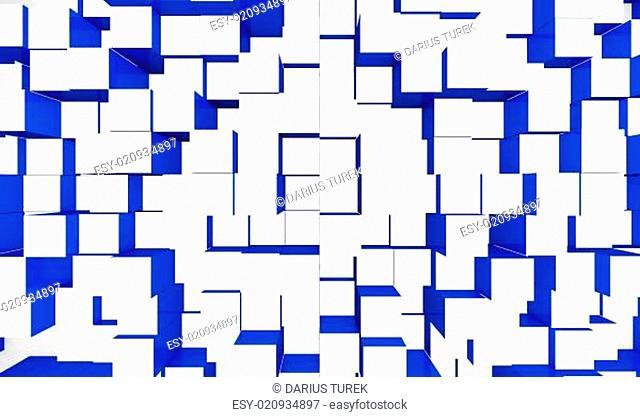 Abstrakter Würfel Hintergrund - Blau Weiß