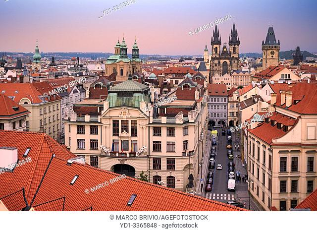 Prague Czech Republic. Aerial view of the old town at sunset