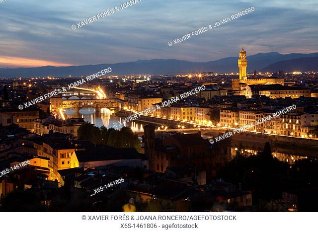 Aerial view at night, Florence, Tuscany, Italy