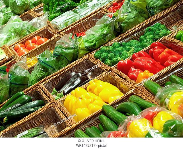 Supermarket,vegetable counter