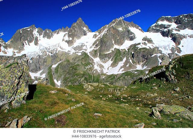 Switzerland, Europe, Canton Uri, Funffingerstock, Wendenhorn and Wasenhorn, Susten Pass area, summer, Central Switzerl