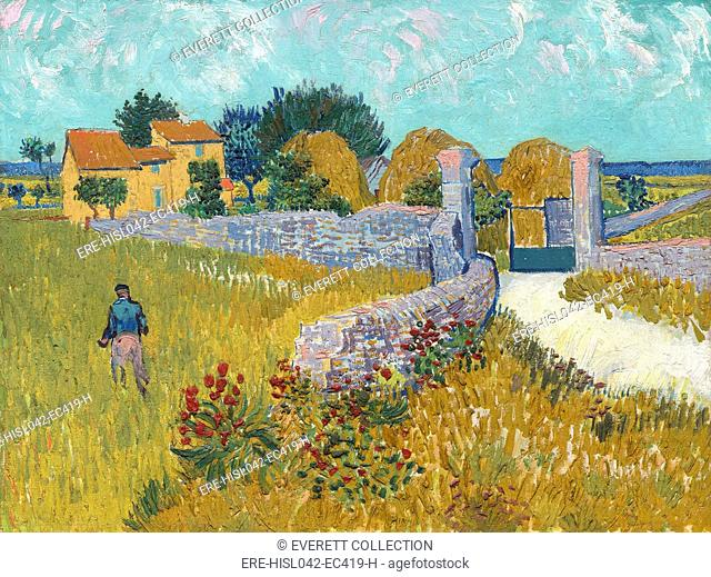 Farmhouse in Provence, by Vincent van Gogh, 1888, Dutch Post-Impressionist painting, oil on canvas. Van Gogh's time in Arles was amazingly productive