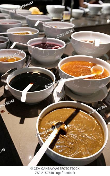 Different kinds of jam prepared in Turkish style, Sultanahmet, Istanbul, Marmara Region, Turkey, Europe