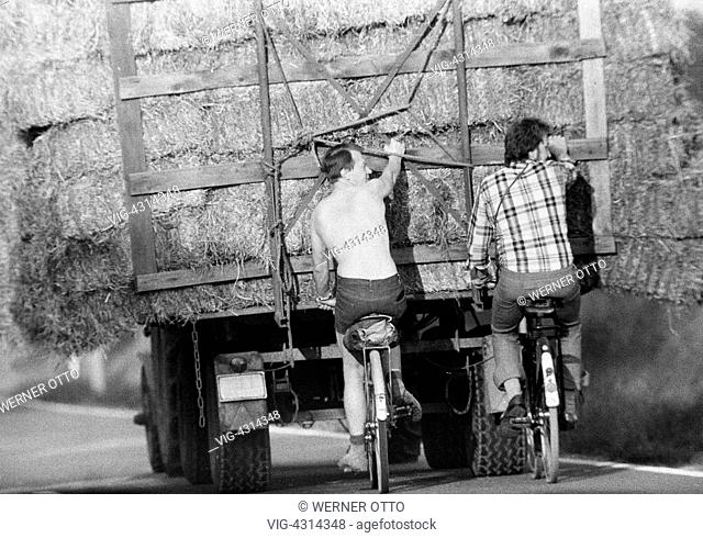 Seventies, black and white photo, autumn, hay harvest, tractor brings in the harvest, two cyclists hang on the trailer, men, aged 30 to 40 years -