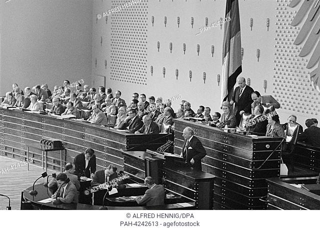 Chairman of the FDP Walter Scheel gives a speech shortly before the vote regarding the state of emergency constitution in the German Bundestag on the 30th of...