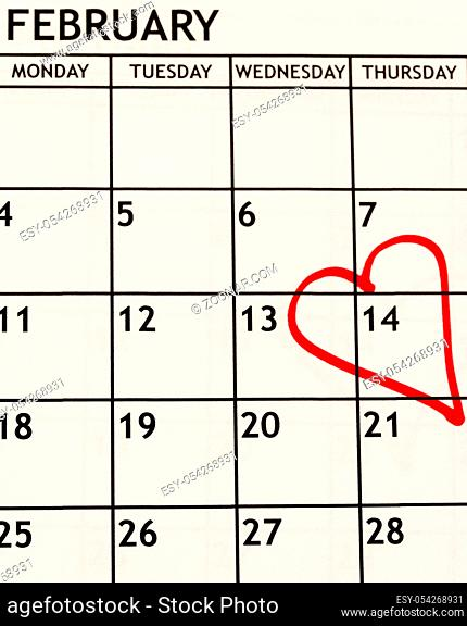 monthly calendar February detail view with a red heart drawn on the fourteenth for Valentine's Day as a reminder